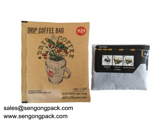 Drip Brazil Santos Coffee Bag Packing Machine with Outer Envelop